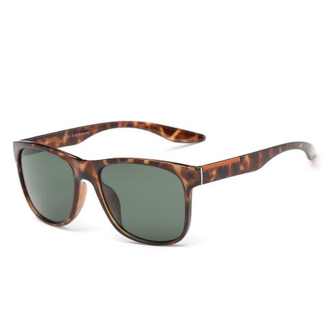 Tortoise Frame Large Square Sunglasses with Green Grey 52-millimeter Lens