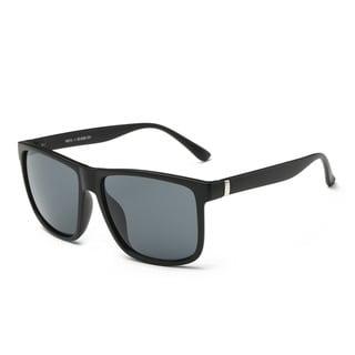 Matte Black Frame Large Square Sunglasses With Dark Grey 53-millimeter Lenses