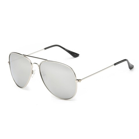 Silver Metal Frame Aviator Sunglasses with Silver 63-millimeter Tinted Lens