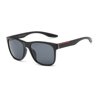 Matte Black Large Square Sunglasses with Dark Grey Lens