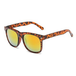 Large Turtoise Frame with Golden Tinted Lenses Square Sunglasses