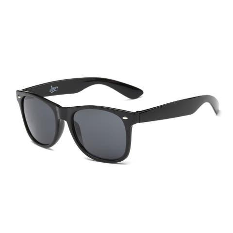 Shiny Black Framed Sunglasses with Dark Grey 55-millimeter Lens
