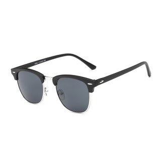Matte Black Frame with Dark Grey Lens Semi-rimless Round Sunglasses