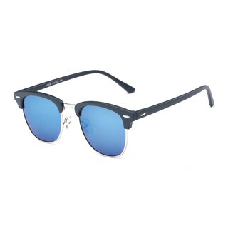 Matte BlackFrame Semi-rimless Round Sunglasses With 51-millimeter Tinted Lenses