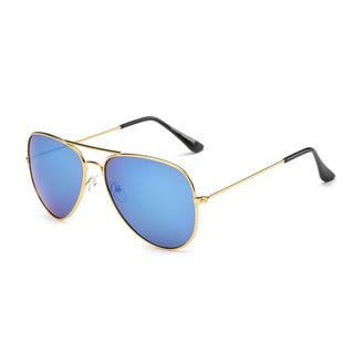 Golden Metal Frame Aviator Sunglasses with Blue Tinted Lens 63MM