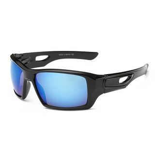 Black Acetate Sport Sunglasses with Blue 65-millimeter Tinted Lens and Hollowed-out Arms