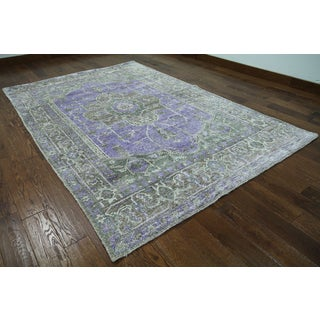 Purple Silk Oriental Persian Hand-knotted Rug (6'2 x 9'5)