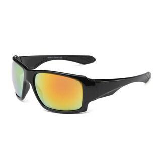 Shiny Black Acetate Sport Sunglasses with Orange 70-millimeter Tinted Lens