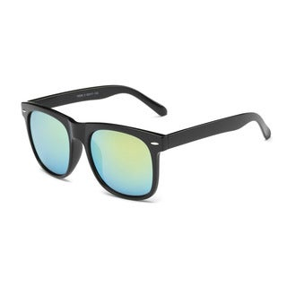 Shiny Black Large Square Sunglasses With Green 62-millimeter Tinted Lens
