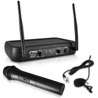 Pyle PDWM2140 VHF Fixed Frequency Wireless Microphone System With Handheld Mic, Body Pack Transmitter, Lavalier, and Headset