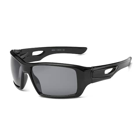 Matte Black Sports Sunglasses with Dark Grey 65-millimeter Lens and Hollowed-out Arms