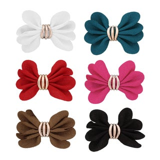 Moda Women's Multicolor Polyester Ruffle Bow Clip (Pack of 6)