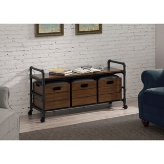Pipe Antique Walnut Storage Bench with 3 Boxes