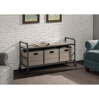 Pipe Weathered Grey Storage Bench with 3 Boxes