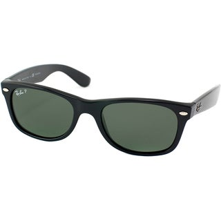 Ray-Ban RB 2132 901 New Wayfarer Black Plastic Sunglasses with Green Polarized Lens