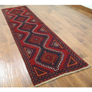 Hand-knotted Oriental Balouch Red Wool-on-wool Rug (2'8 x 9'5)