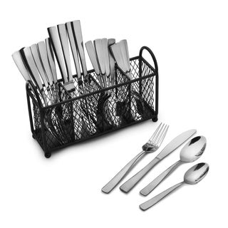 Pfaltzgraff Satin Danford 24-piece Stainless Steel Flatware Set with Four-slot Wire Caddy