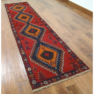 Red Wool-on-wool Oriental Baluch Hand-knotted Rug (2'5 x 9'2)