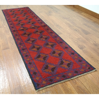 Red Wool-on-wool Oriental Balouch Hand-knotted Rug (2'6 x 9'1)