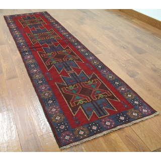 Red Wool Hand-knotted Oriental Baluch Runner Rug (2'7 x 9'2)