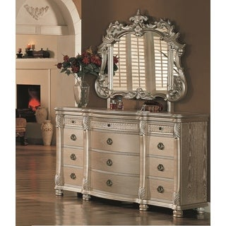 Lyke Home Bellisario Natural Veneer/Wood Dresser and Mirror Combo