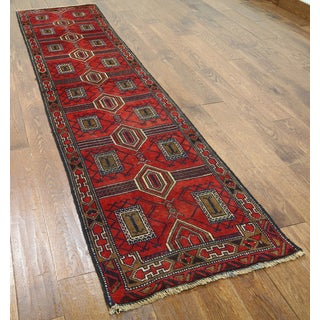 Hand-knotted Oriental Balouch Red Wool-on-wool Rug (2'2 x 9'1)