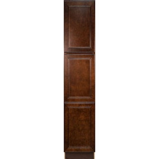 Everyday Cabinets Leo Saddle Cherry Mahogany 18-inch Bathroom Vanity Linen Cabinet
