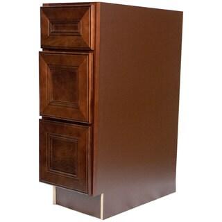 Everyday Cabinets Leo Cherry Mahogany 15-inch Saddle Bathroom Vanity Drawer Base Cabinet