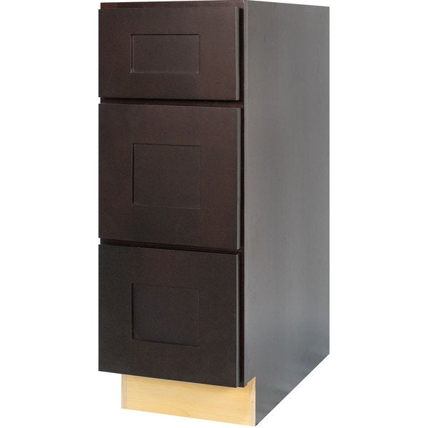 Everyday Cabinets Dark Espresso Wood 12 Inch Shaker Bathroom Vanity Drawer Base Cabinet Free