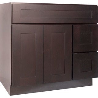 Everyday Cabinets Dark Espresso Wood 36-inch Shaker Bathroom Vanity Cabinet