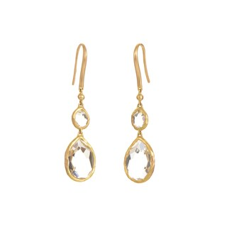 Gucci 18K Yellow Gold & White Topaz Dangle Earrings