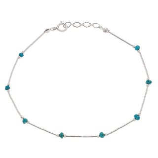 Journee Collection Sterling Silver Turquoise Bead Anklet