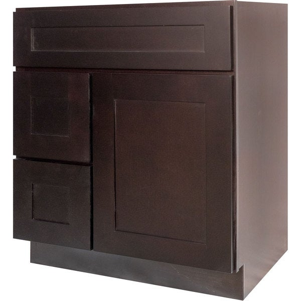 Everyday cabinets dark espresso wood 30 inch shaker for Bathroom cabinets 30 inch