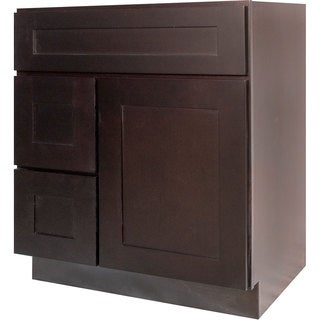 Everyday Cabinets Dark Espresso Wood 30-inch Shaker Bathroom Vanity Cabinet
