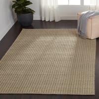 "Indoor/ Outdoor Earth Tone Flatweave Pewter Rug (3'6 x 5'6) - 3'6"" x 5'6"""