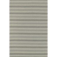 Indoor/ Outdoor Earth Tone Flatweave Steel Stripe Rug - 7'6 x 9'6