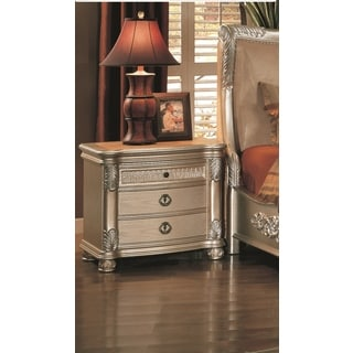 LYKE Home Bellisario Metallic Finish Wood Nightstand with Leather Top