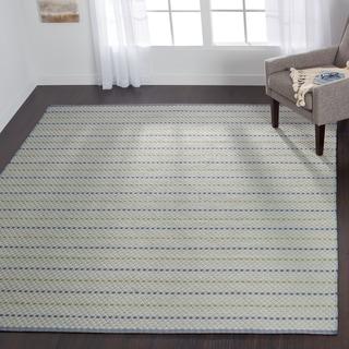 Indoor/ Outdoor Earth Tone Flatweave Mediterranean Stripe Rug (7'6 x 9'6)