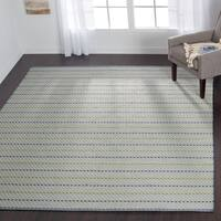 Indoor/ Outdoor Earth Tone Flatweave Mediterranean Stripe Rug - 7'6 x 9'6
