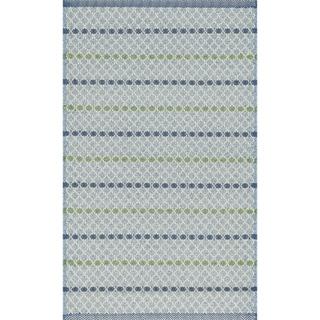 Indoor/ Outdoor Earth Tone Flatweave Mediterranean Stripe Rug (2'3 x 3'9)