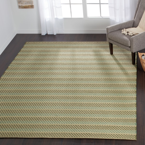 Indoor/ Outdoor Earth Tone Flatweave Lagoon Stripe Rug - 7'6 x 9'6