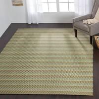 Indoor/ Outdoor Earth Tone Flatweave Lagoon Stripe Rug - 7'6 x 9'6