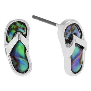 Journee Collection Silvertone Paua Shell Flip-flop Stud Earrings