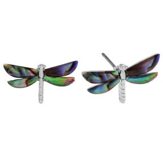 Journee Collection Silvertone Paua Shell Dragonfly Stud Earrings
