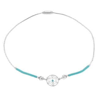 Journee Collection Sterling Silver Dreamcatcher Beaded Anklet