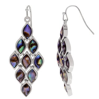 Journee Collection Silvertone Paua Shell Dangle Earrings