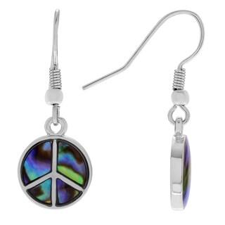 Journee Collection Silvertone Paua Shell Peace Sign Dangle Earrings
