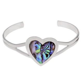 Journee Collection Silvertone Paua Shell Heart Cuff Bracelet