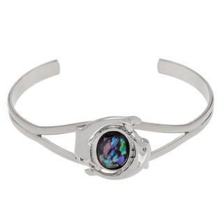 Journee Collection Silvertone Paua Shell Oval Dolphin Emblem Cuff Bracelet