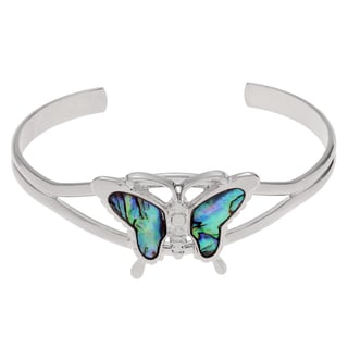 Journee Collection Silvertone Paua Shell Butterfly Cuff Bracelet